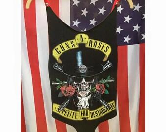 Guns N Roses Vintage Re-worked Bodysuit + Velvet Skull Straps