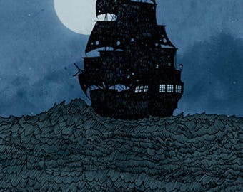 Sailing Under the Moon A4 Print