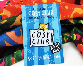 Cosy Club - Soft Enamel Pin - Cat Pin - Self Care Pin - Katie Abey