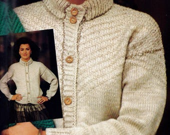 Diagonal Rib Cardigan Vintage Knitting Pattern Instant Download