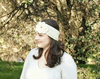 Knitted Headband Earwarmer with Flower, Women's Headband Earwarmer, Warm Winter Earwarmer, Women's Earwarmer, Flower Headband Earwarmer