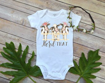 Baby Shower Gift, Herd That, Country Baby, Farm shirt, Cowgirl shirt, Cute Girl Clothes, Niece Gift, Cute Baby Clothes, Cow Theme, Farm baby