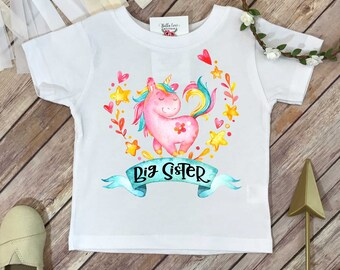 Big Sister Shirt, Promoted to Big Sister, Unicorn Shirt, Big Sister Gift, Pregnancy Reveal, Baby Announcement, Big Sister Reveal, Sisters