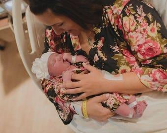 Black Floral robe - delivery, feeding, child birth, pregnancy and labor, wrap around robe lounge wear