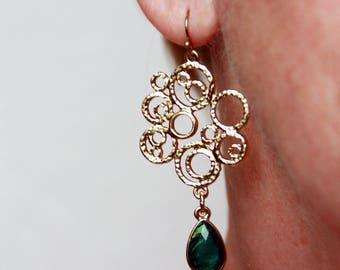 Gold Teardrop Pendant, Earrings Filigree, Bridesmaid Earrings, Bridal Earrings, Wedding Jewelry, Boho Earrings, Bohemian Jewelry Earring
