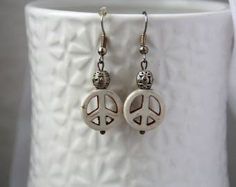 Earrings peace earrings, peace earrings, dangle earrings white, turquoise earring