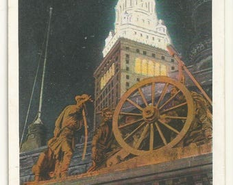 1920s WB White Border Postcard- Night Scene of Terminal Tower and Soldiers Monument, Cleveland, Cuyahoga County, Ohio, OH. ~ Free Shipping