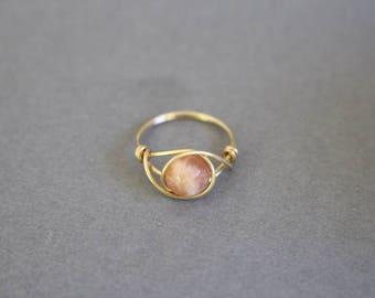Sunstone ring, sunstone gemstone, wire ring, wire wrapped ring, stone wire ring, pink stone ring, healing gemstone jewelry, custom wire ring