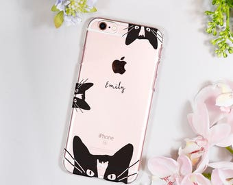Cat iPhone Case - Personalised iPhone Case - Birthday Gift for her - Kitten phone case - Name phone case - Clear cat iPhone case