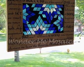 Stained Glass Mazel Tov Suncatcher - Blue Jewish Star