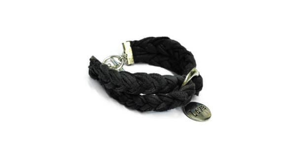 Real black leather plaited bracelet wristband with charm