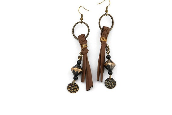 Long brown recycled faux leather dangle earrings with beads in tribal style