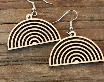 Rainbow Laser-Cut Wood Earrings