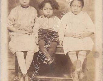 Vintage RPPC - Black Americana - Identified Children 2