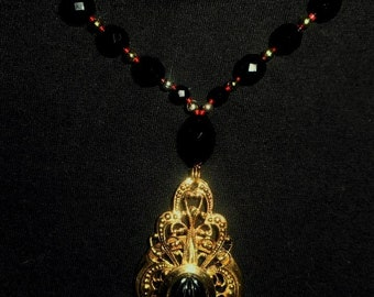 Gold Tone Locket Pendant Drop/Onyx Beaded Chain/Necklace
