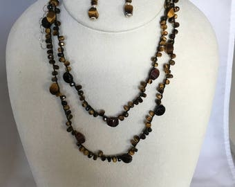Fancy & Faceted Tiger Eye Southwest Style Long Necklace, Bracelet, Hand Crochet on Pure Silk Thread, Matching Earrings and Sterling Silver