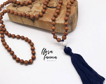 Wood mala - beautiful hand knotted tassel necklace - from Flora Fauna Market