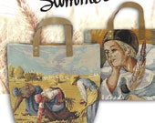 Tote Bag, Tapestry Needlepoint Handbag, French Design, Vintage Embroidery, Canvas Bag : Le Norberte