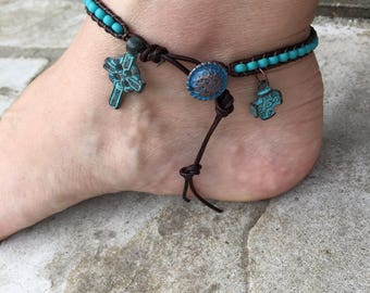 Cross Anklet Cross Jewelry Bohemian Ankle Bracelet Turquoise Anklet Leather Anklet Cute Anklet Christian Jewelry Made in USA Boho Chic
