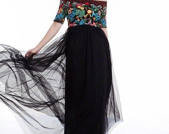 Black and Brown Tulle Skirt Maxi Length Evening Dress with Floral Accents/ Floor Length Elegant Bohemian Colorful Prom Dress D11
