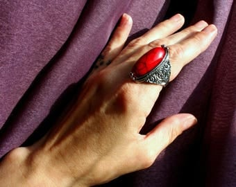 Ethnic Red Turquoise & Silver Ring. Large Oval Ornate Filigree Scroll Band Gorgeous Red Stone! Belly Dancer Bohemian Gypsy Boho Chic Vintage