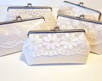 One of a Kind Set of Ivory Clutch | Lace Bridesmaid Clutch Gift Set of 5 | Wedding Clutch Set | Vintage Style Lace Clutch | 8 inch Clasp