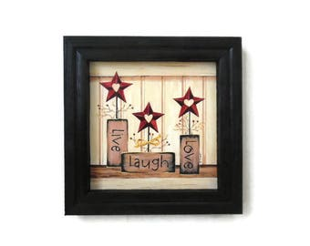 Primitive Decor, Live Laugh Love, Stars, Berries, Country Primitive, Art Print, Wall Hanging, Handmade, 8X8, Custom Wood Frame, Made in USA