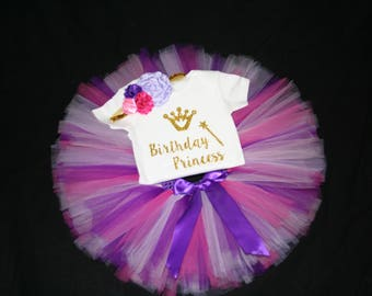 Pink Purple First Birthday Outfit, Girls 1st Bday Outfit, 1st Birthday Tutu Set, Pink Birthday Tutu Set, Birthday Outfit, First Birthday