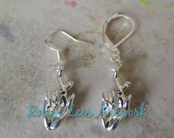 Small 3D Silver Fingers Crossed Hand Sign Symbol Charm Earrings on Silver Earring Hooks or Leverbacks