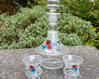Mid century hand painted glass Schnapps decanter & 2 shot glasses