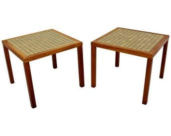 Mid Century Modern Pair Of Martz Green Tile Top U0026 Walnut Side End Tables  1960s