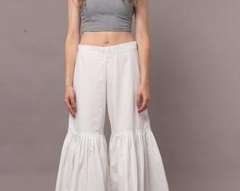 Womens  Cotton  Pleated  Skirt  Pant  Beach  Harem  Pants,  Cotton  Plus size.