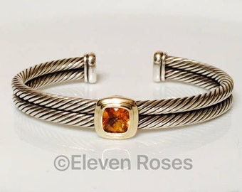 David Yurman Citrine Double Two Row Cable Noblesse Cuff Bracelet 925 Sterling Silver & 750 18k Gold