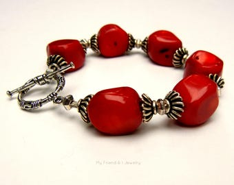 Bold Red Coral Nuggets Chunky Bracelet Decorative Pewter Toggle Clasp Statement Jewelry DB214