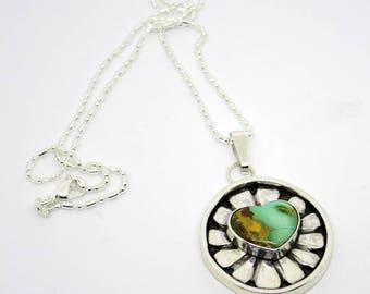 Turquoise Heart Necklace, Royston Turquoise, southwestern jewelry, boho necklace, gypsy necklace, shadowbox necklace, gift