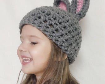 Grey Bunny Hat , Bunny Ears , winter whimsy beanie, kids animal hat, Newborn - Adult , grey rabbit hat, winter beanie