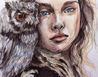 Harper's Bazaar Owl Fashion Editorial Illustration Original Wall Art