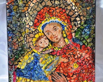 "Mother Mary, OOAK, Mosaic on canvas, 8""x10"" (20cmx25cm)"