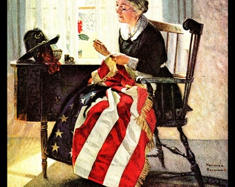 Norman Rockwell Art, Woman Sewing American Flag, Mending the Flag, 1922 Vintage Patriotic Illustration, Ready to Frame