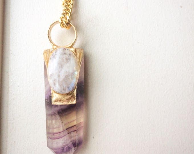 Rainbow Fluorite Wand with Moonstone Necklace