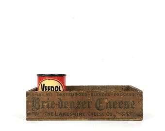 Small Vintage Wood Crate Brie-Denzer Cheese Box 1950s Small Wooden Crate Box Old Wood Cheese Box Vintage Small Wood Crate Plymouth Wisconsin