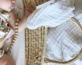 Heirloom Baby Blanket / White and Cream Pom Pom Swaddle / THICK Gauze Swaddle 6 layers gauze  Blanket / Newborn Blanket / Newborn Blanket