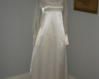 1978 Empire Waist Wedding Dress Size 10 Cream Crepe Back Satin Fabric One of Kind Handmade from Simplicity Pattern 8392