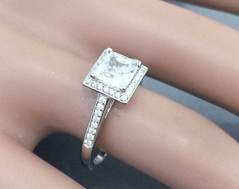 14k white gold princess cut forever one moissanite and diamond engagement ring art deco style halo wedding anniversary round diamonds 2.00ct