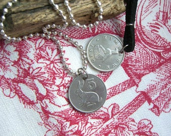 Hare necklace, Fertility symbol, Lucky charm, African jewelry, Zimbabwe coin, For her, Men's necklace, Rabbit necklace, 1980, 1982