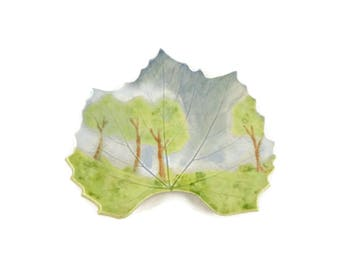 Hollyhock Leaf dish - pottery - Forest landscape leaf -ring dish - spoon rest - fall leaf - handpainted - forest scene
