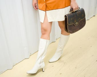 VTG LEATHER BOOTS ϟ Hunt Club Retro White Vintage Women's White Leather Tall Knee High Boots