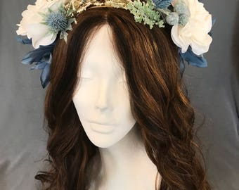 Flower Crown, Wedding Wreath, Flower Hair Wreath, Bridal Headpiece, Floral Ivory Crown, Something Blue