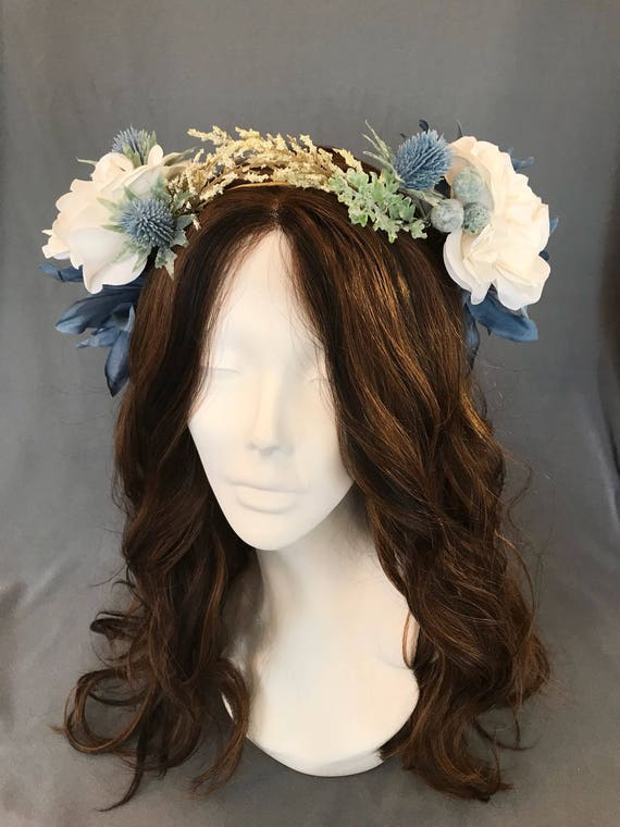 Flower Crown, Wedding Wreath, Flower Hair Wreath, Bridal Headpiece, Floral Ivory Crown, Something Blue