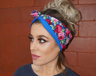 Floral Rockabilly Pin up Wired Blue Reversible Headband Headwrap